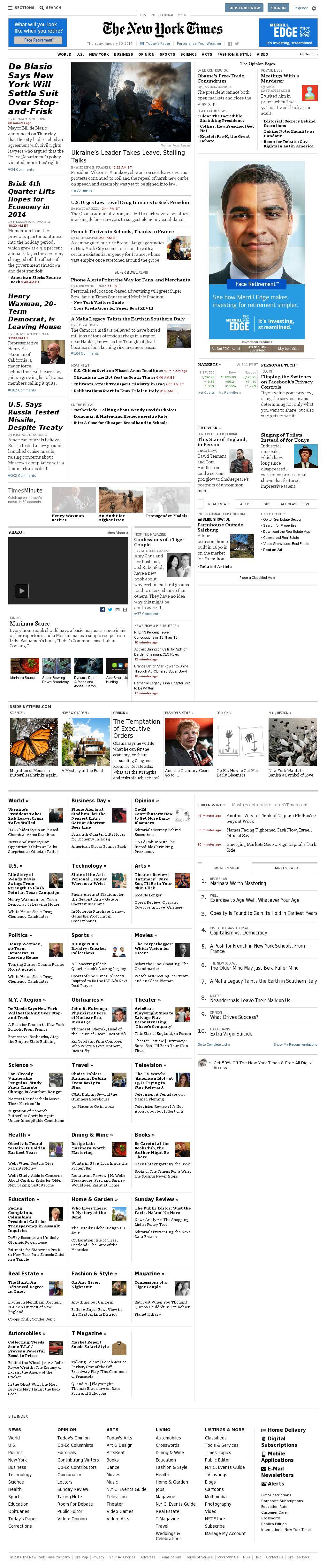 The New York Times at Thursday Jan. 30, 2014, 7:15 p.m. UTC