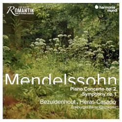 Piano Concerto no. 2 / Symphony no. 1 by Mendelssohn ;   Bezuidenhout ,   Heras‐Casado ,   Freiburger Barockorchester