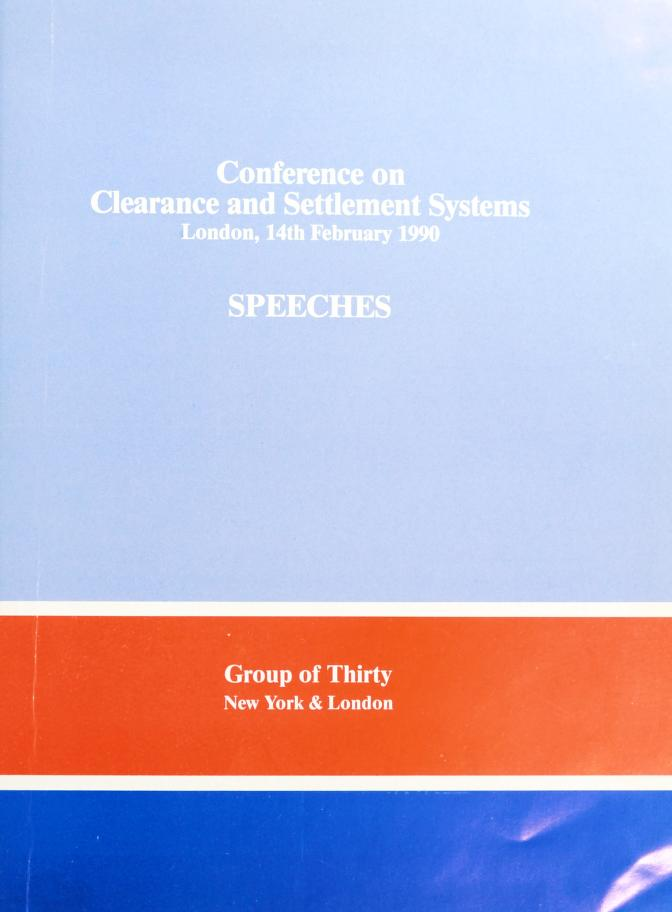 Conference on clearance and settlement systems by Group of Thirty