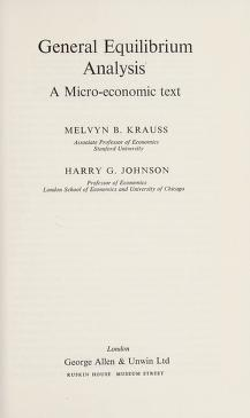 Cover of: General equilibrium analysis | Melvyn B. Krauss