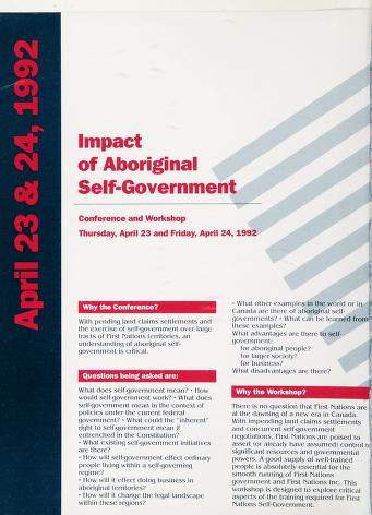 Cover of: Impact of aboriginal self-government | Impact of Aboriginal Self-Government (1992 Vancouver, B.C.).
