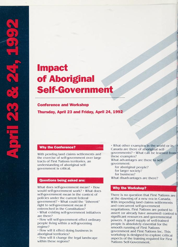 Impact of aboriginal self-government by Impact of Aboriginal Self-Government (1992 Vancouver, B.C.).
