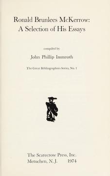 Cover of: Ronald Brunlees McKerrow | J. Philip Immroth